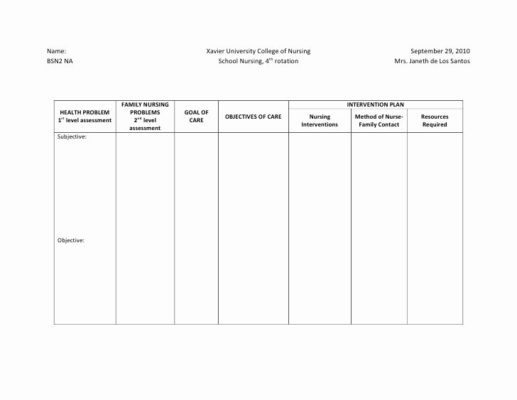 Nursing Education Plan Template Beautiful Ncp format