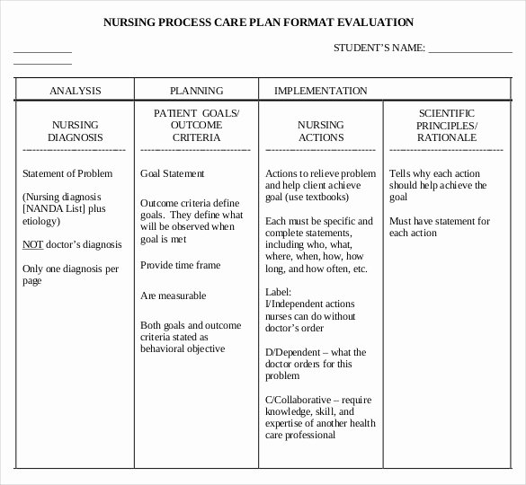 Nursing Education Plan Template New Nursing Care Plan Template