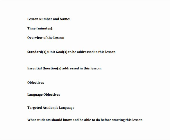 Nys Lesson Plan Template Beautiful Sample Unit Lesson Plan 9 Example format