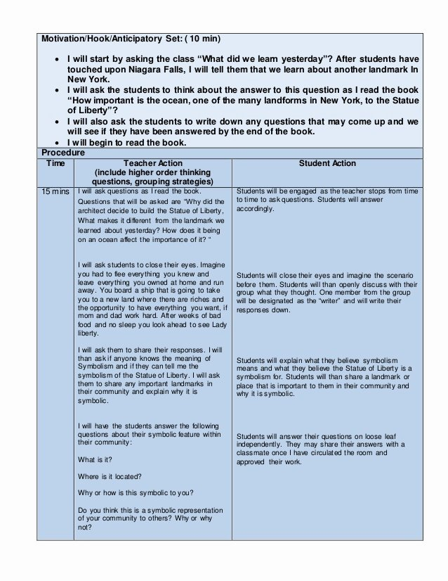 Nys Lesson Plan Template Luxury Edtpa Childhood Lesson Plan Template Lesson All 3