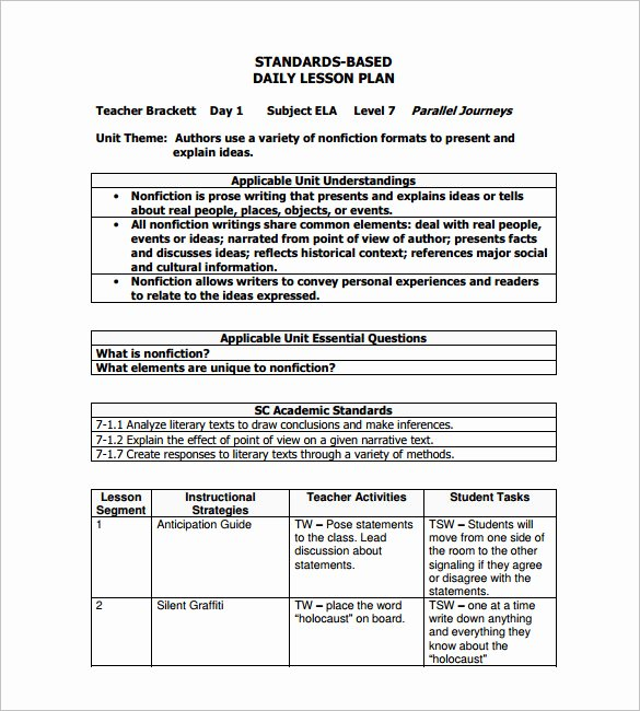 Nys Lesson Plan Template New Daily Lesson Plan Template 15 Free Pdf Word format