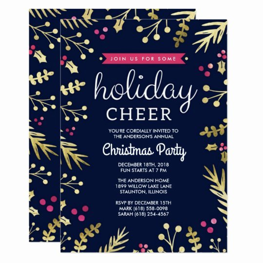 Office Christmas Party Invitation Template Beautiful Navy Blue Holiday Cheer Christmas Party Invitation