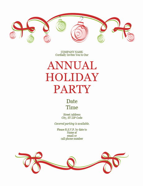 Office Christmas Party Invitation Template New Holiday Party Invitation with ornaments and Red Ribbon
