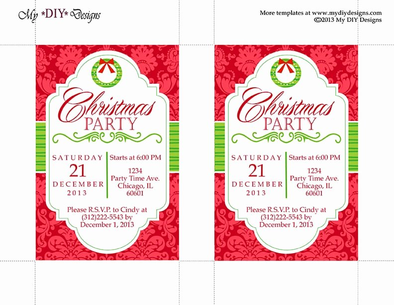 Office Christmas Party Invitation Template Unique Free Party Invitation Templates Word