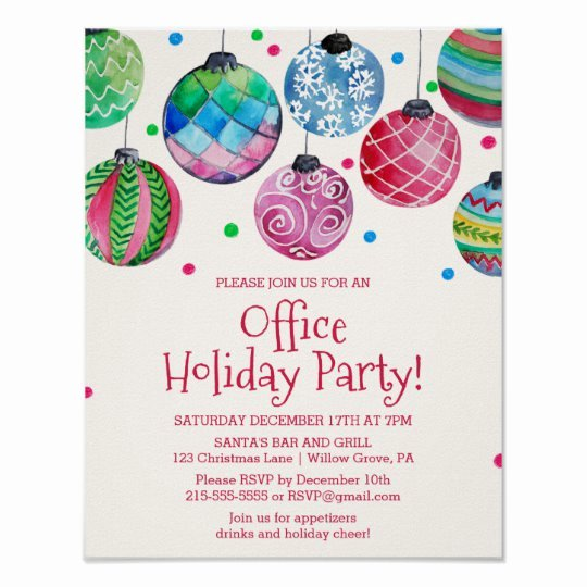 Office Party Invitation Template Best Of Holiday ornament Fice Christmas Party Invitation Poster