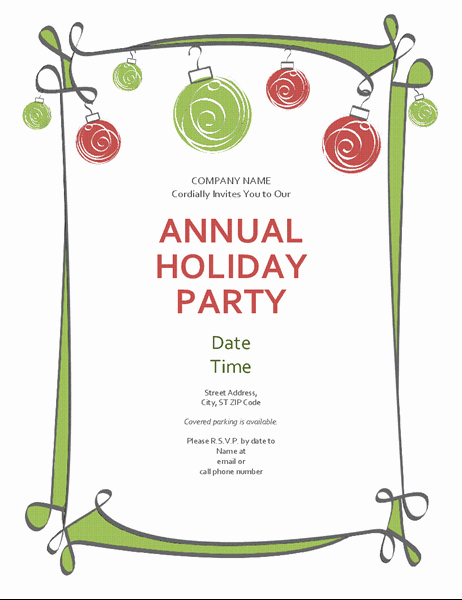 Office Party Invitation Template New Holiday Party Invitation with ornaments and Swirling