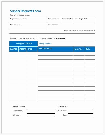 Office Supply order form Template Fresh Supply Request form Templates Ms Word
