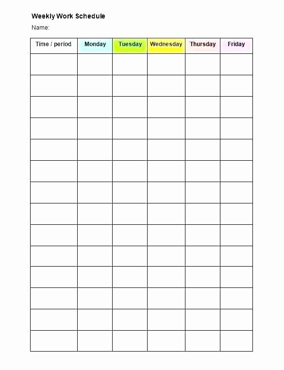 One Day Schedule Template Elegant One Week Schedule Template