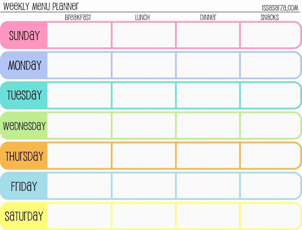 One Day Schedule Template Inspirational Free Printable Menu Planners Fill In Day Of the Week