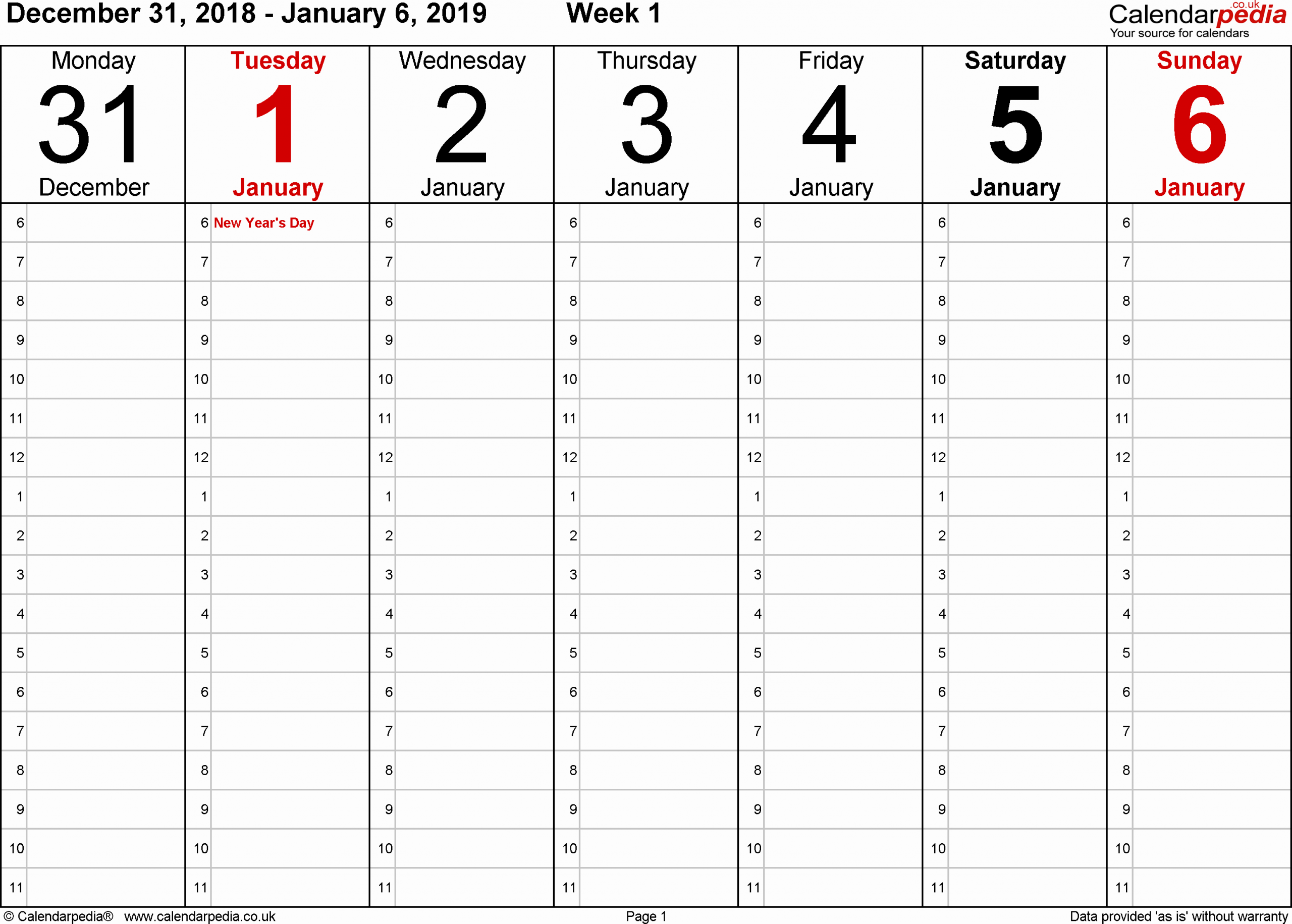 One Day Schedule Template Inspirational Weekly Calendar 2019 Uk Free Printable Templates for Pdf