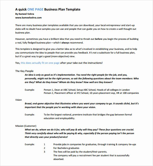 Pages Business Plan Template Best Of Free 10 E Page Business Plan Samples In Ms Word