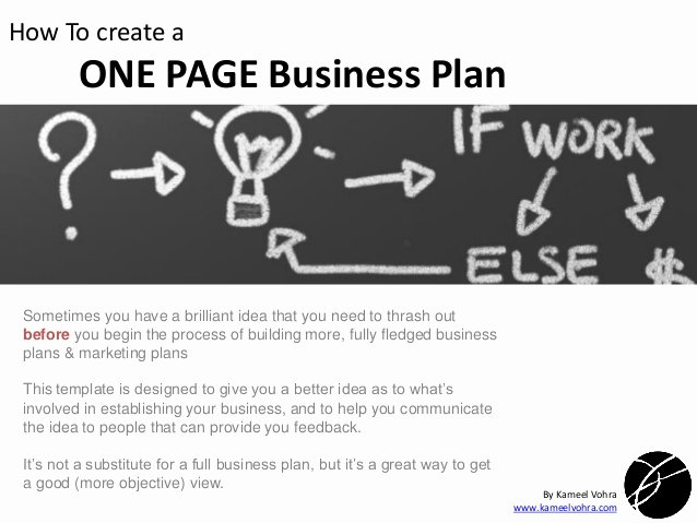 Pages Business Plan Template New A Quick One Page Business Plan Template