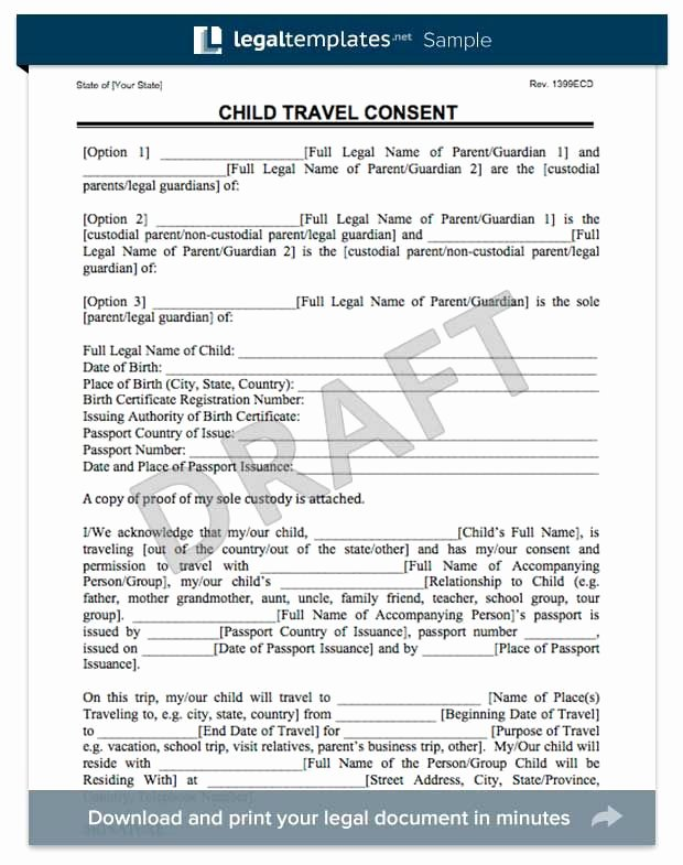 Parental Consent form Template Travel Awesome Child Travel Consent form Florida Trip In 2019