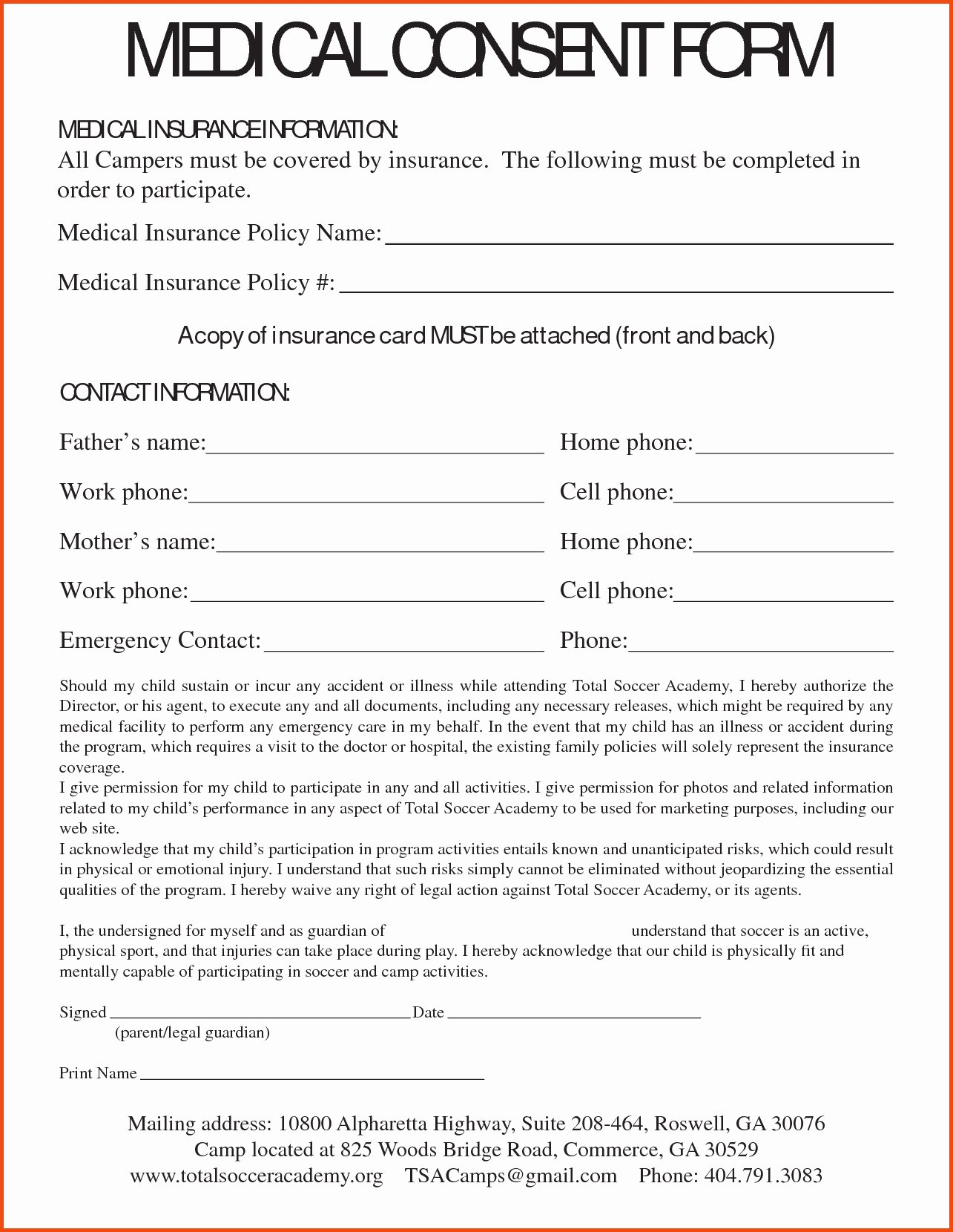 Parental Consent form Template Travel Awesome Medical Consent Letter Template Collection