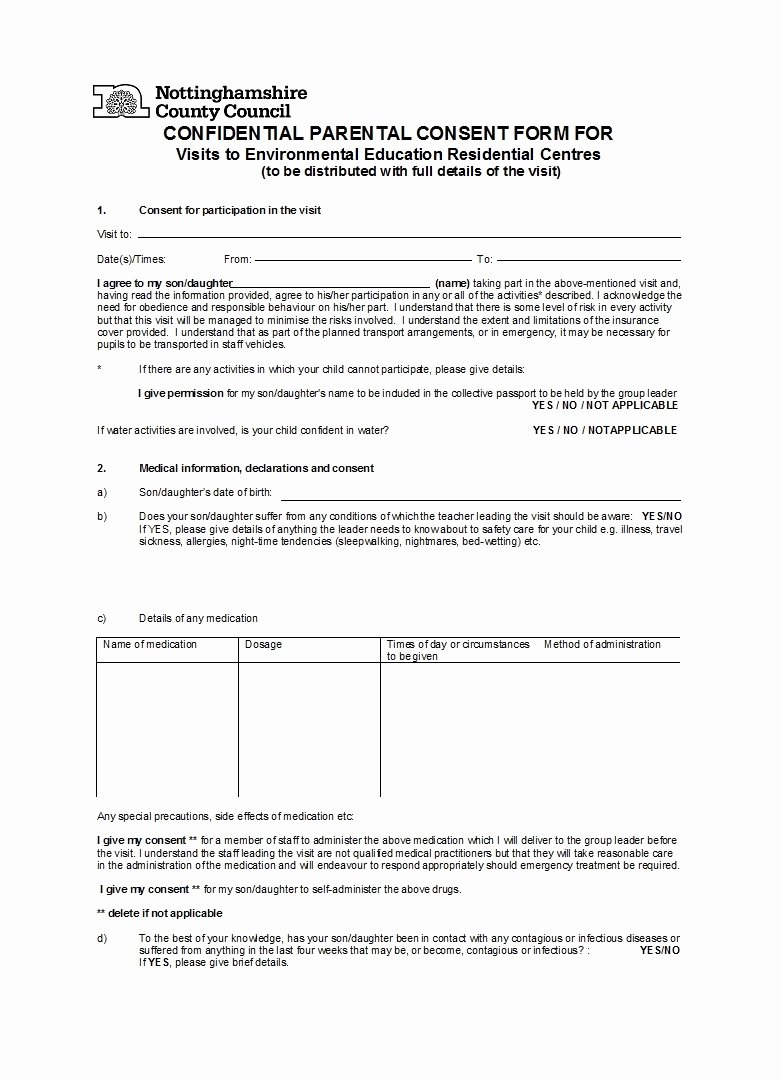 Parental Consent form Template Travel Fresh 50 Printable Parental Consent form Templates Template Lab