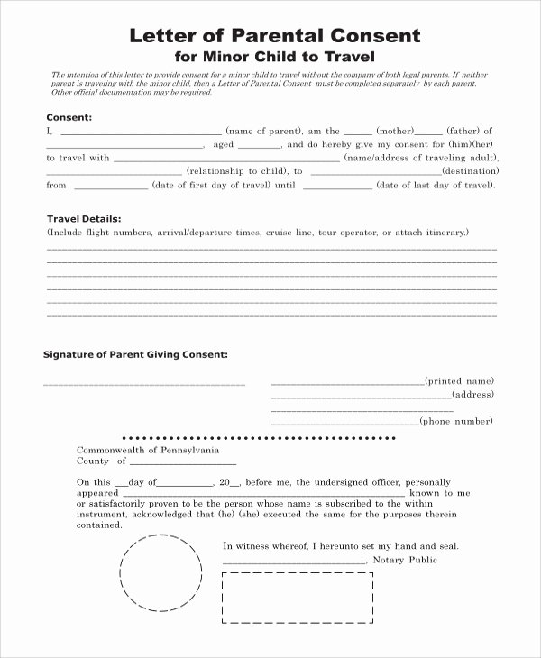 Parental Consent form Template Travel Inspirational Sample Consent form 8 Examples In Word Pdf