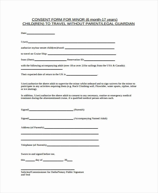 Parental Consent form Template Travel Lovely Free 40 Free Consent form Samples