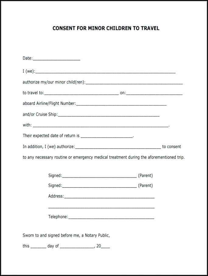 Parental Consent form Template Travel Lovely Free Child Medical Consent form Pdf form Resume