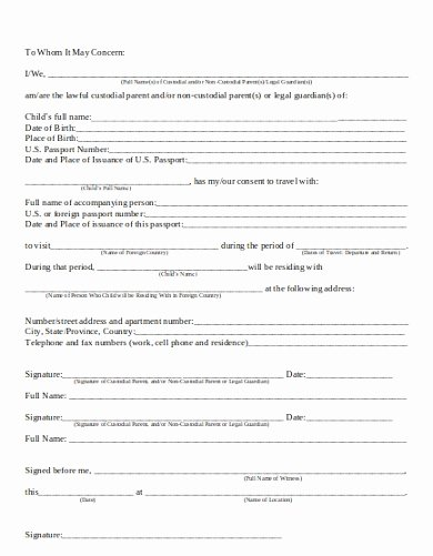 Parental Consent form Template Travel Luxury 10 Travel Consent Letter Templates Pdf