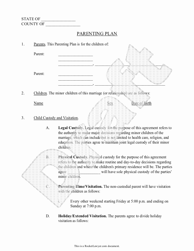 Parenting Plan Calendar Template Best Of Parenting Plan Child Custody Agreement Template with