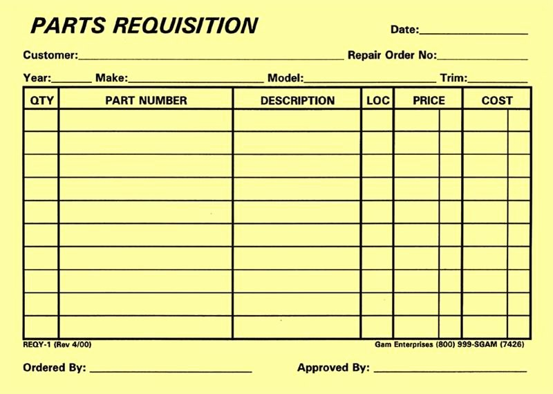 Part order form Template Beautiful Parts Requisition Yellow form