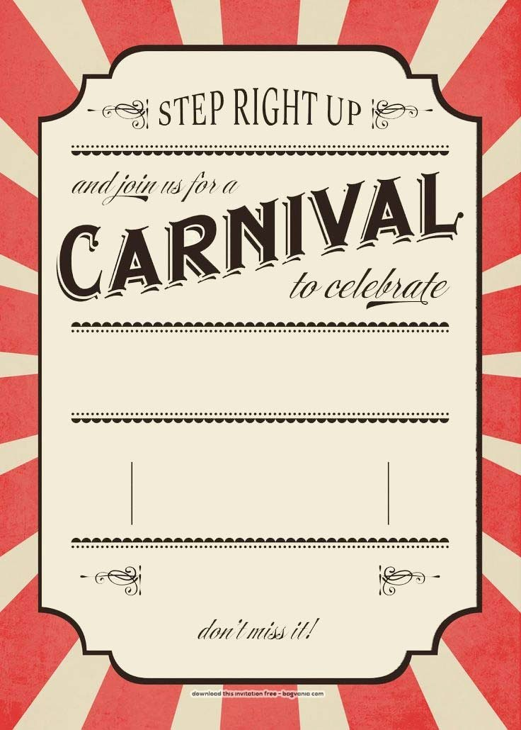Party Invitation Template Free Awesome Free Carnival Birthday Invitations – Free Printable