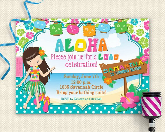 Party Invitation Template Free Awesome Luau Invitation Luau Birthday Invitation Luau Party Luau