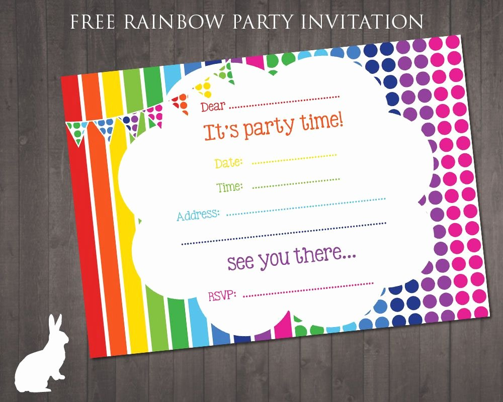 Party Invitation Template Free Best Of Free Rainbow Party Invitation