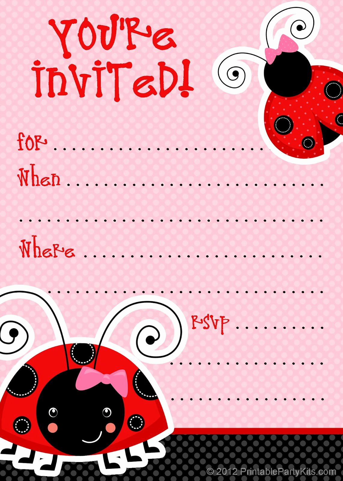 Party Invitation Template Free Elegant Free Printable Party Invitations Free Ladybug Invite Template