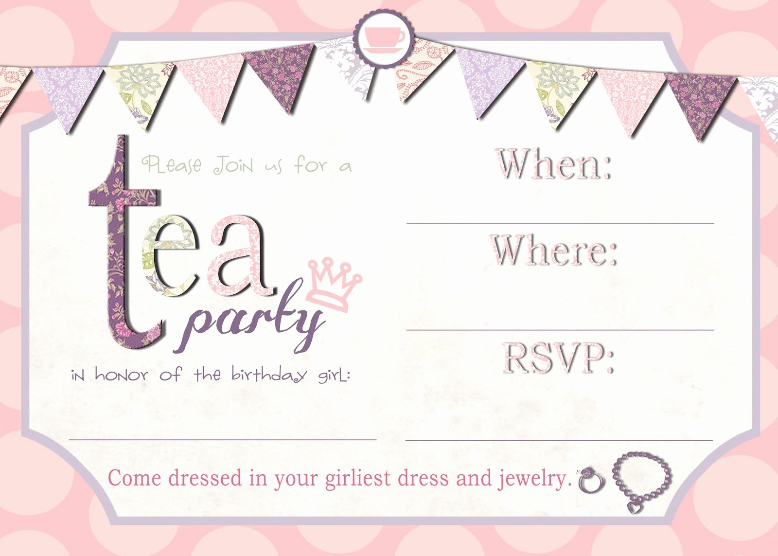 Party Invitation Template Free Elegant Mrs This and that Free Tea Party Invite