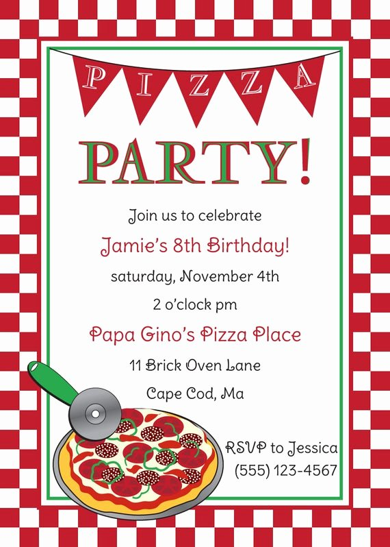 Party Invitation Template Free Fresh Pizza Party Birthday Invitation by Anchorbluedesign On Etsy