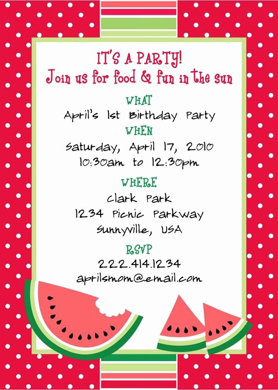 Party Invitation Template Free New Printable Watermelon themed Party Invitation