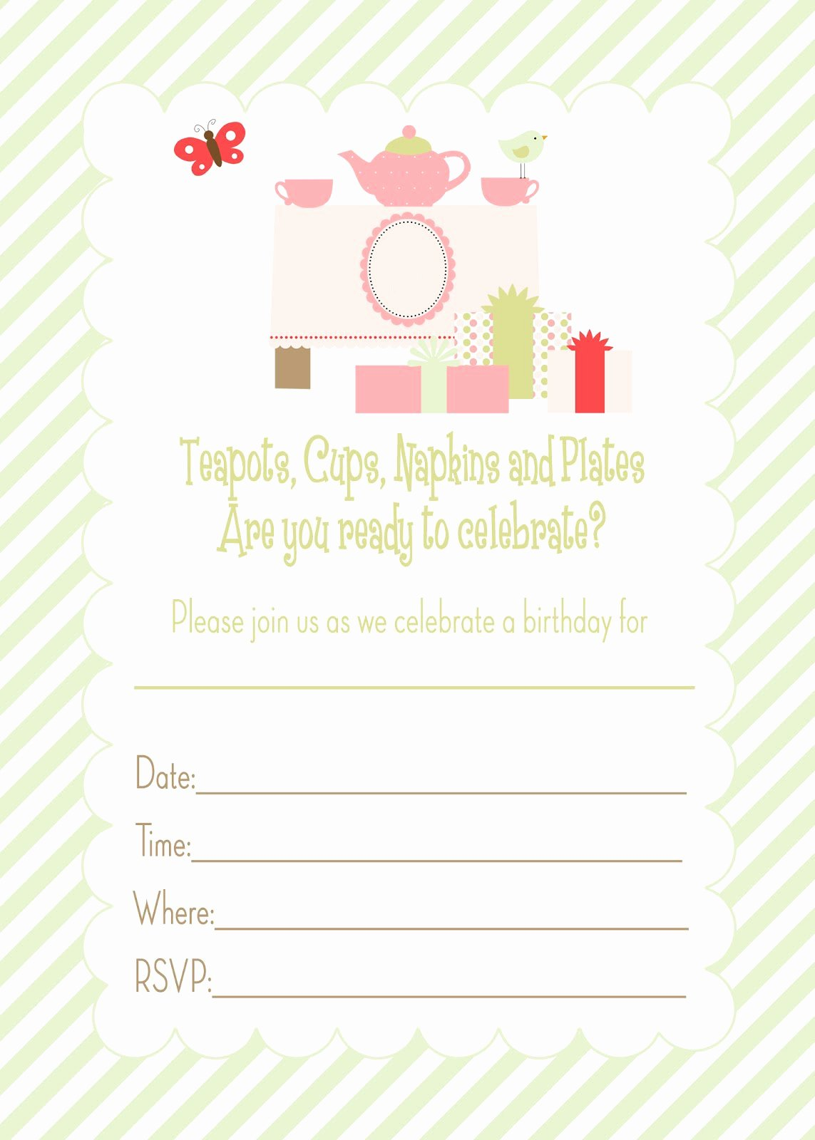 Party Invitation Template Printable Awesome Generic Birthday Invitations