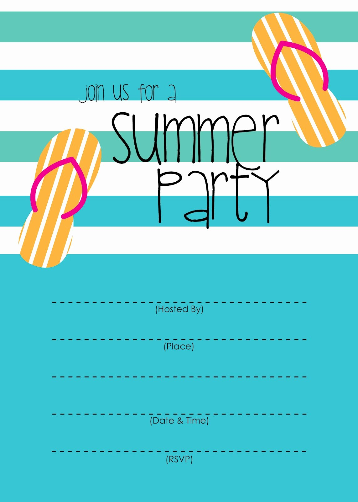 Party Invitation Template Printable Awesome Mckissick Creations Summer Party Invitation Free Printable