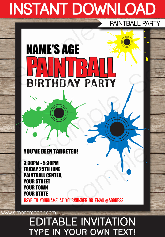 Party Invitation Template Printable Awesome Paintball Party Invitations Birthday Party