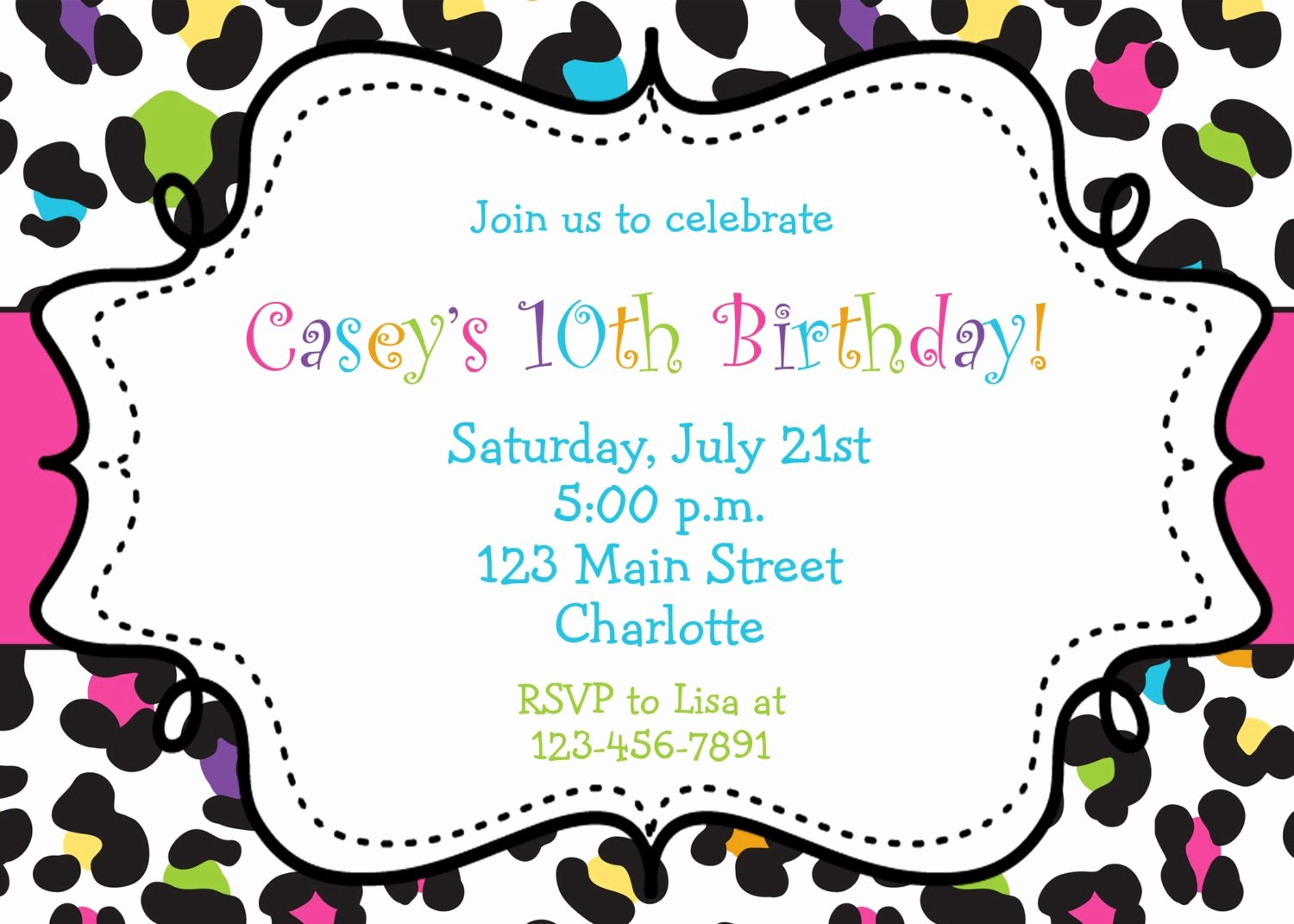 Party Invitation Template Printable Awesome Rainbow Cheetah Girls Birthday Party Invitation Printable