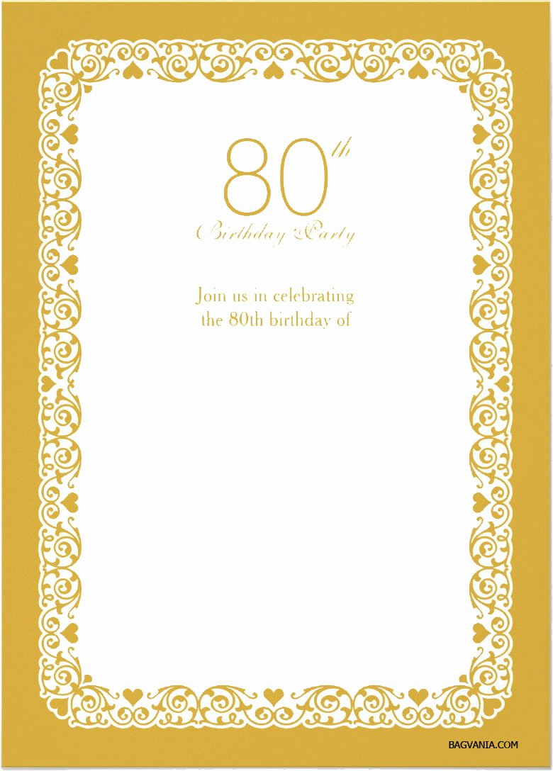 Party Invitation Template Printable Inspirational Free Printable 80 Birthday Invitations Templates