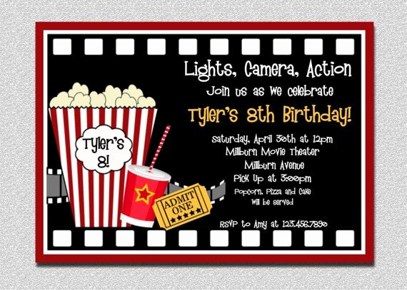 movie birthday invitations movie night