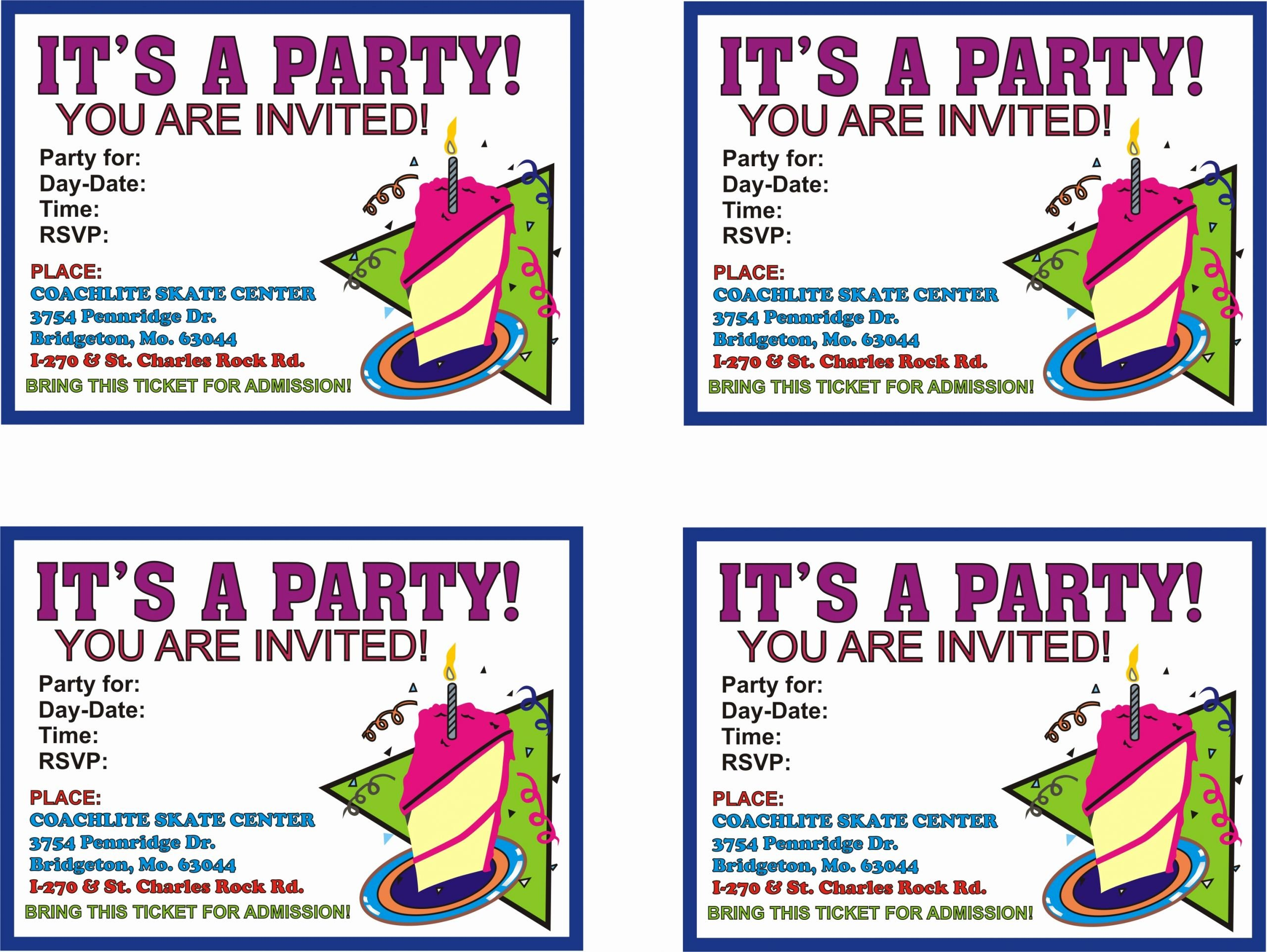 Party Invitation Template Printable Lovely Birthday Parties