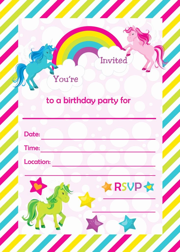 Party Invitation Template Printable Lovely Fill In Birthday Party Invitations Printable Rainbows and
