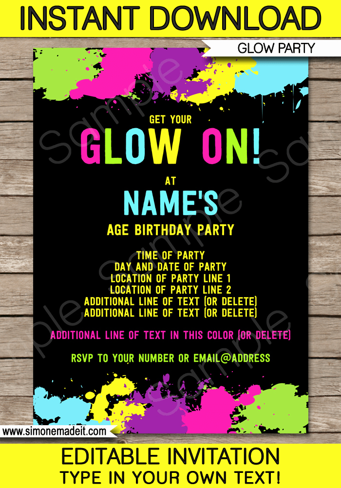 Party Invitation Template Printable Lovely Neon Glow Party Invitations Template