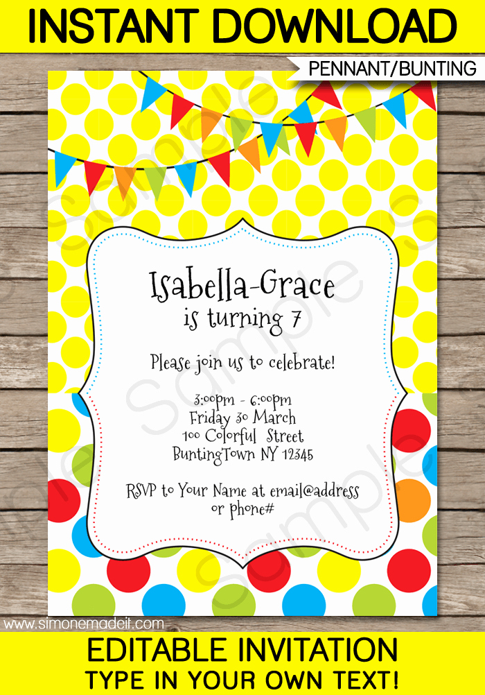 Party Invitation Template Printable Unique Colorful Bunting Invitations Template