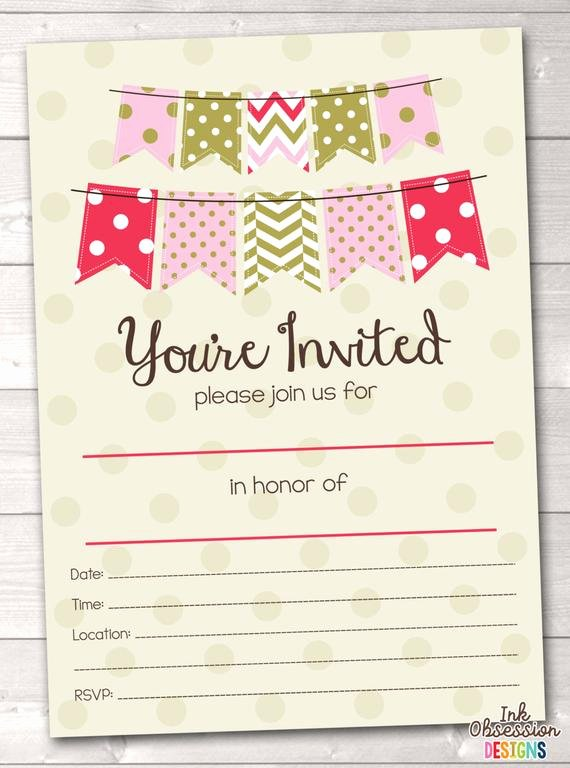 Party Invitation Template Printable Unique Items Similar to Fill In Blank Party Invitations Printable
