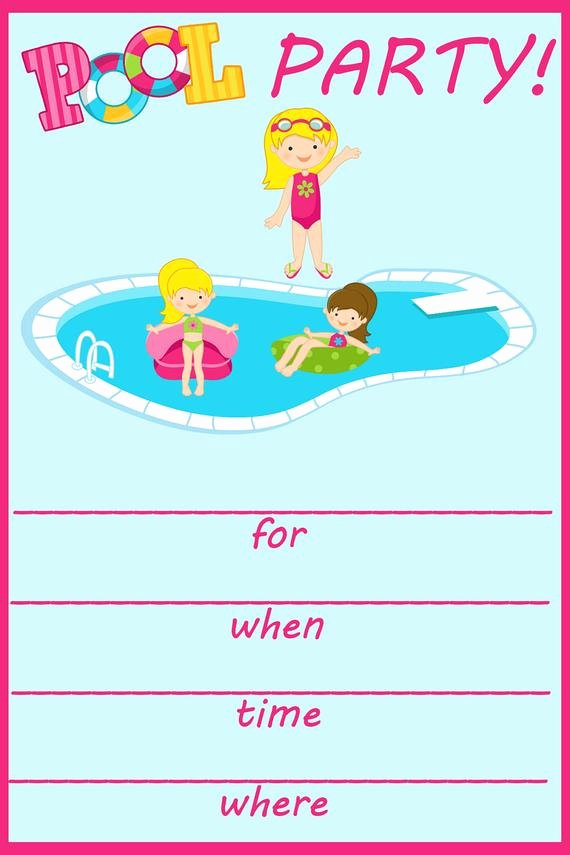 Party Invitation Template Printable Unique Items Similar to Pool Party Fill In Birthday Invitation On