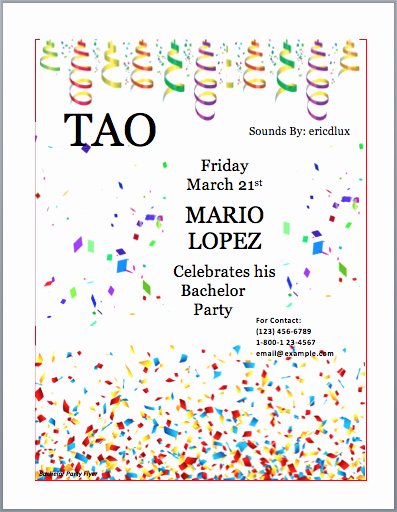 Party Invitations Template Word Awesome Bachelor Party Invitation Flyer Template Word Templates
