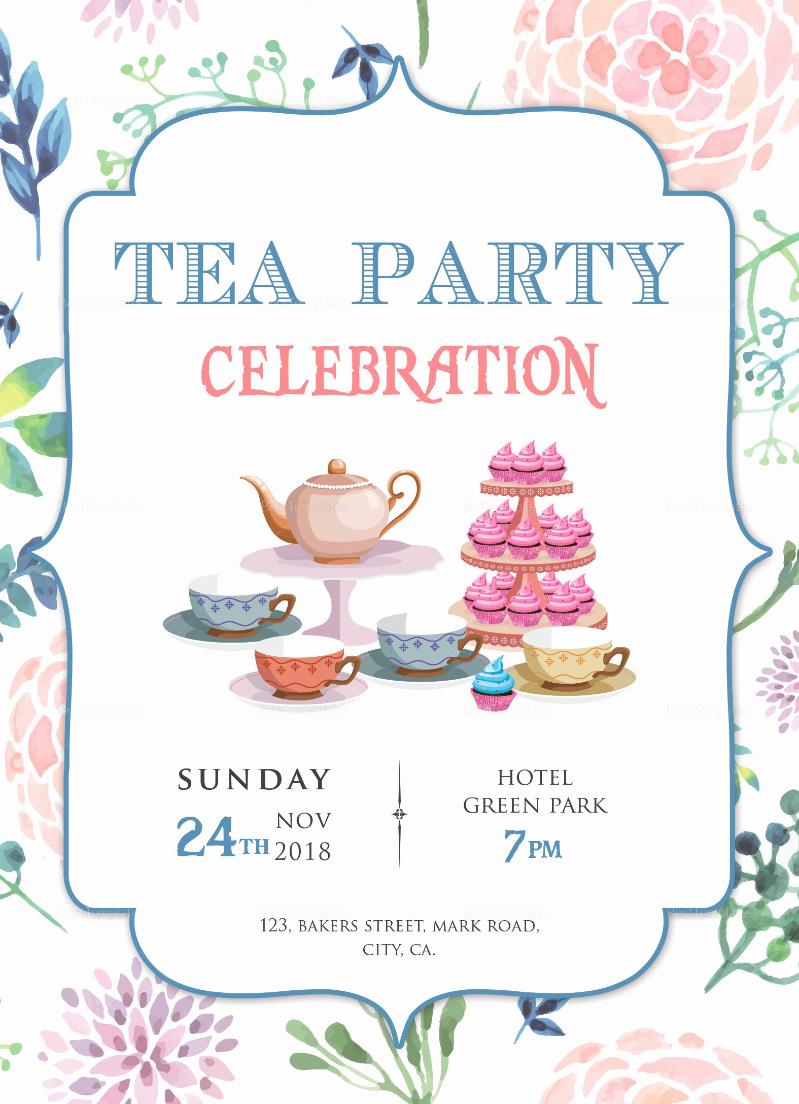 Party Invitations Template Word Elegant Elegant Tea Party Invitation Design Template In Word Psd