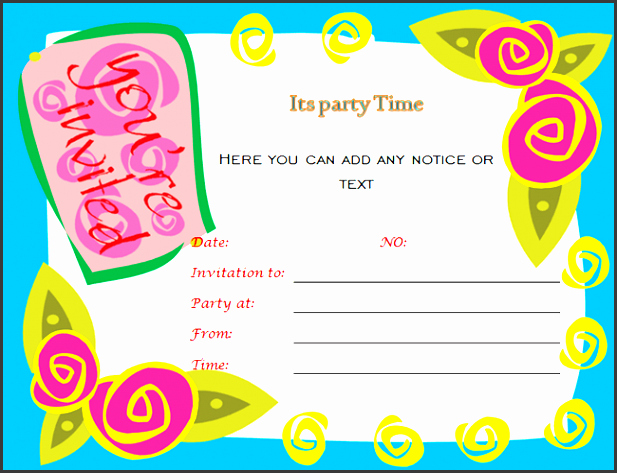 Party Invitations Template Word Fresh 10 Ms Word Birthday Party Invitation Template
