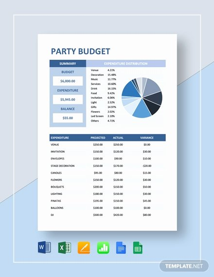 Party Planning Budget Template Beautiful Party Bud Template 11 Free Word Pdf Documents