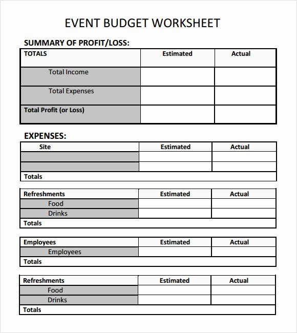 Party Planning Budget Template Beautiful Sample event Bud Template 6 Free Documents Download