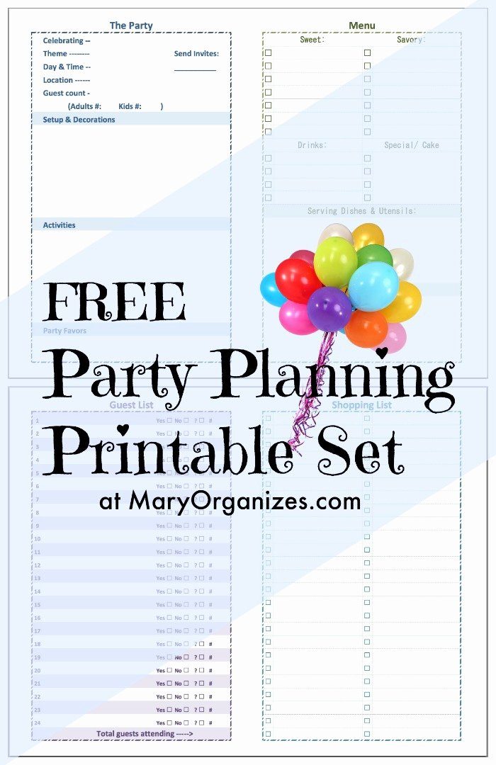 Party Planning List Template Inspirational Party Planning [printable] Set Creatingmaryshome